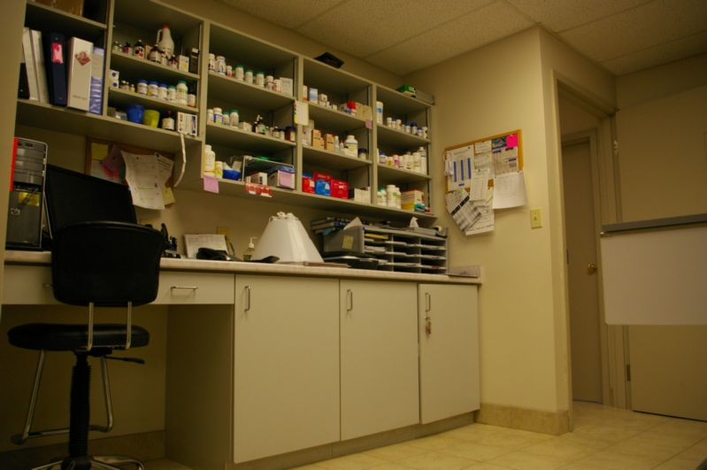 Medicine counter and shelves at Dresden Veterinary Clinic