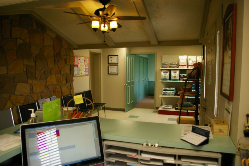View of waiting area from the front desk at Dresden Veterinary Clinic