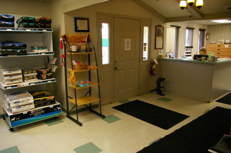Product shelf, front door and front desk at Dresden Veterinary Clinic